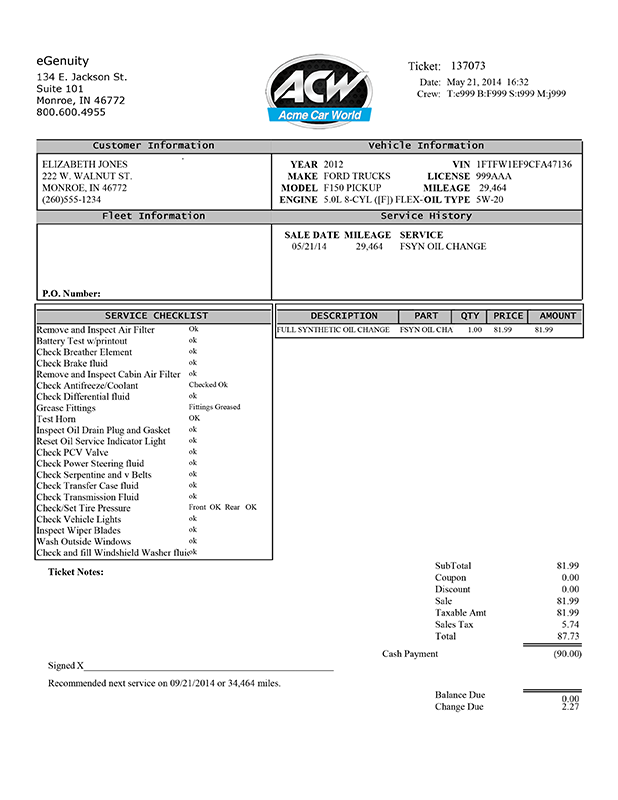 eGenuity Lube Invoice Forms
